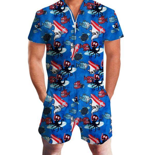 Octopus Print Rompers Men Sea Water Short Sleeve 3D Jumpsuit Playsuit Hawaii Harem Cargo Overalls Summer One Piece Men Sets