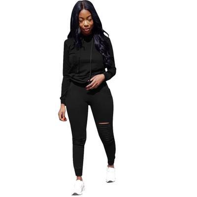 Felpe con cappuccio sportivo con tinta unita da donna Tuta da donna alla moda Scava su due pezzi Pantaloni sportivi Donna Slim Abiti casual