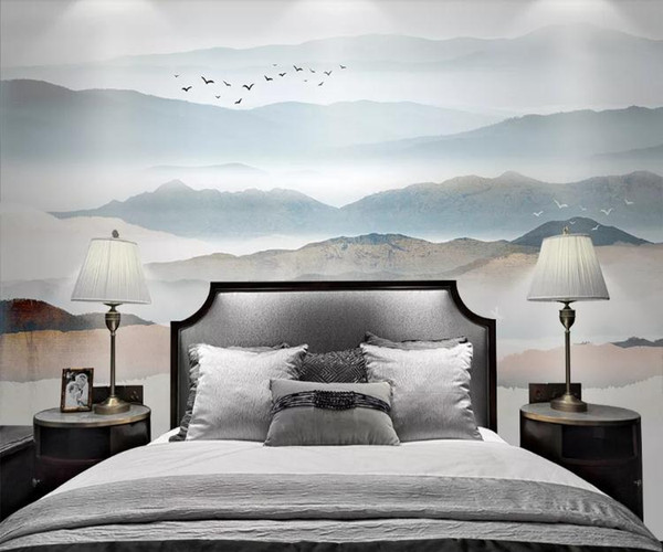 ustom Photo Wall Paper 3D Modern TV Background Living Room BedroomZen ink painting landscape TV sofa Wall Covering Wallpaper