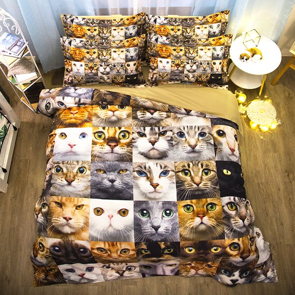 2018 New bedding Cute cat bedding set 3d bed linen duvet cover sets pillowcases full/twin/queen double single size 3D bedclothes