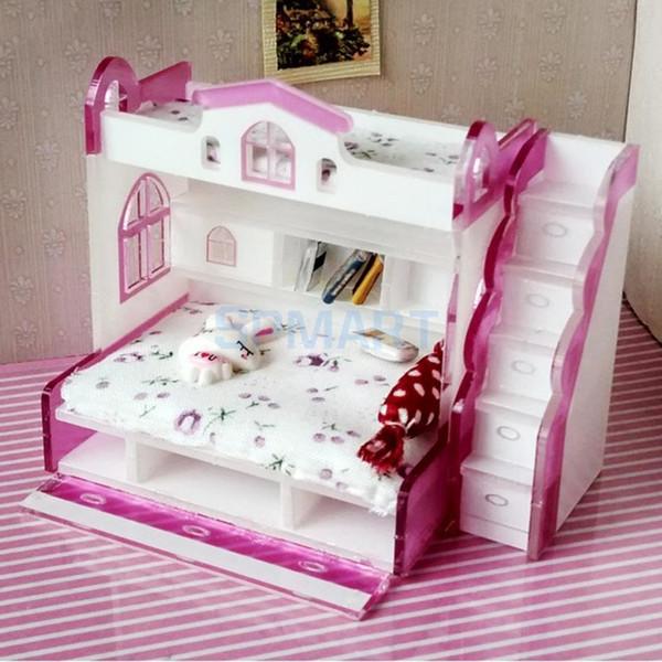1/12 Ölçekli Dollhouse Minyatür Çift Ranza Modeli Bebekler Ev Yatak Odası için Mobilya Yaşam Sahneleri Dekorasyon Oda Aksesuar # 2 SH190913