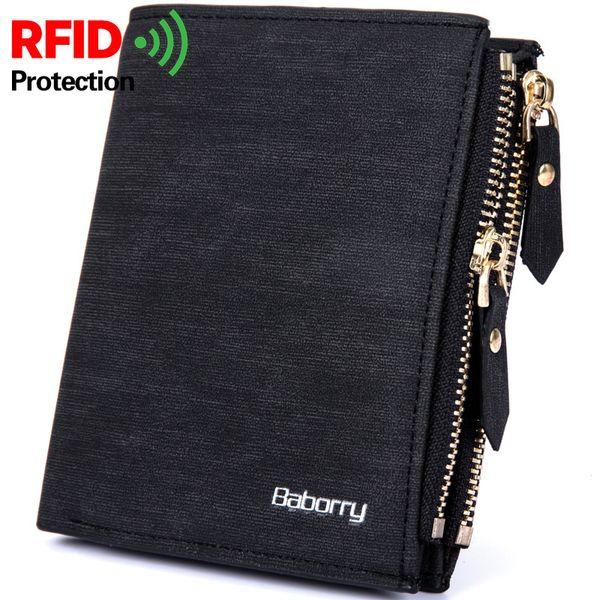 1Rfid Theft Protec Coin Bag Zipper Men Wallets Famous Brand Leather Mens Wallet Male Money Purses New Design Top Men Wallets