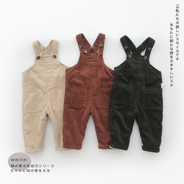 Fashion Cotton and Corduroy Spring Winter Autumn Baby Overalls Korean Warm Velvet Infant Jumpsuit Pants Baby Boys Girls Trousers