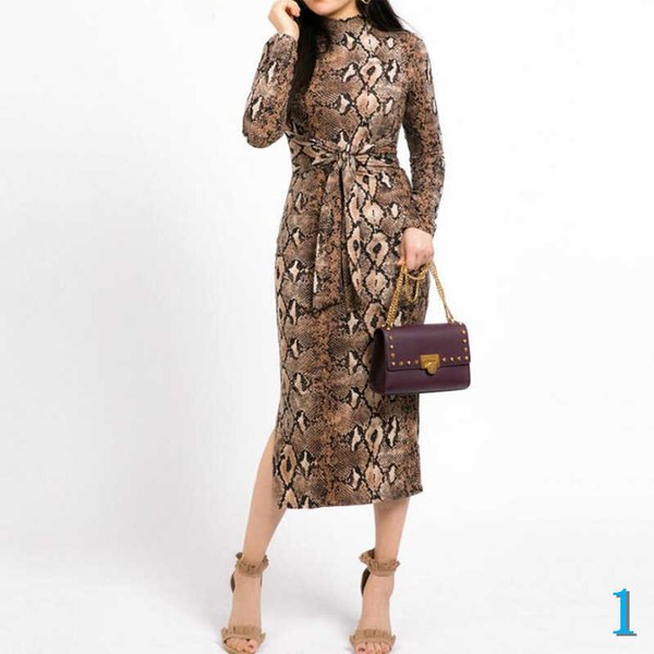 de 2020 New Women Dress Fashion Designer longo -Sleeved Sexy Magro Crew Neck Autumn Spring Dress de padrão feminino Leopard Sexy vestuário S-XL1