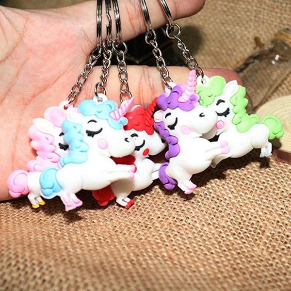 Cartoon Soft PVC Unicornio llavero de goma 3D Anime lindo Unicornio caballo llavero llavero bolso de las mujeres encanto llavero colgante regalos niños juguete