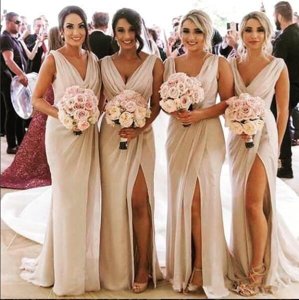 2020 Sexy decote em V Sereia Chiffon longas Damas Vestidos separação formal Honor Of Maid Vestidos De Bridesmaids Prom Party Vestidos