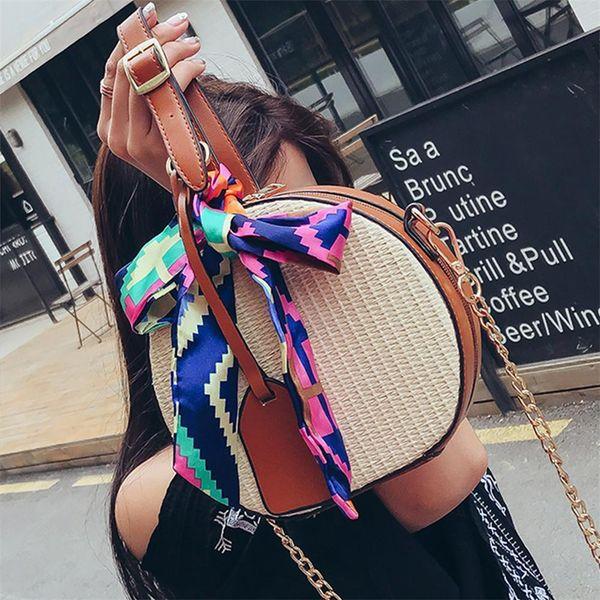 New Straw Small Round Bags Fashion Handbag Streamer Shoulder Messenger Beach Scarves Clutches Top-handle Handbags Bag Women Girl Y19061204
