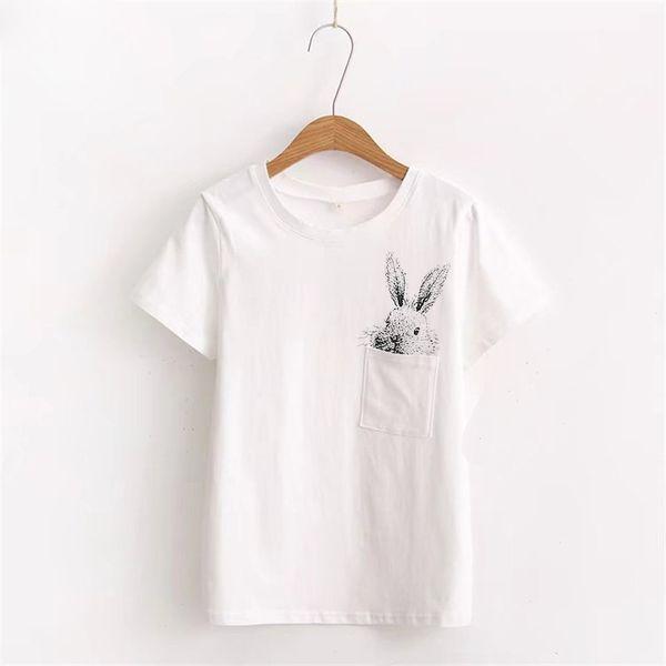 100% baumwolle t-shirt kawaii kaninchen tunika frauen plus größe koreanischen stil frauen t-shirt harajuku shirt freies shiping