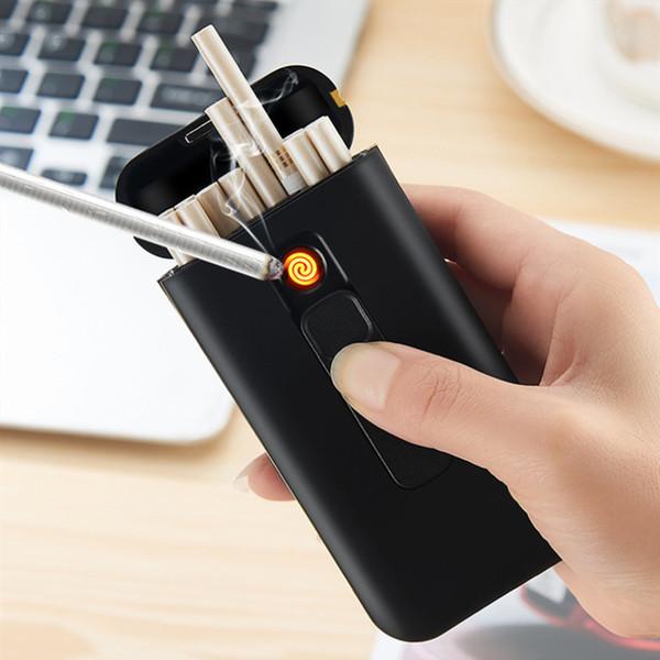 20pcs Capacidade cigarreira Caixa com USB eletrônico isqueiro para Mulheres Slim cigarro cigarro Waterproof Titular Plasma Lighter