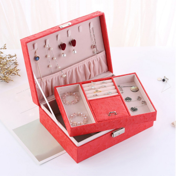 Jewelry Storage Case Organizer Box with Lock for Earrings Bracelets Rings Necklace Dual-Layers PU Leather New