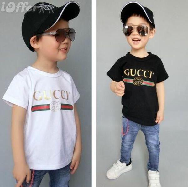 2019 new Luxury summe Hot marca 1-9 anni Neonate maschi T-shirt r shirt Top cotone bambini Tees bambini Abbigliamento 2 colori oferde