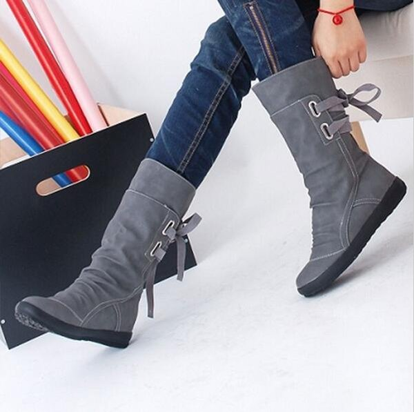 2019 Women Winter Snow Boots Mid-Calf Solid Wedges Ladies Height Increasing Shoes Casual Leather Boot Woman Warm Botas Mujer