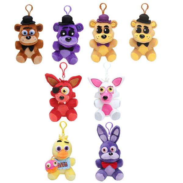 five at night freddy 14cm FNAF Five nights at freddy's 4 toy fox Fazbear bonnie plush toys pendants keychains dolls soft stuffed