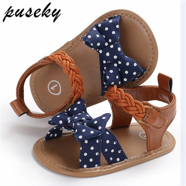 Puseky Baby Girl Sandals Baby Shoes Summer Cotton Canvas Dotted Bow Girl Sandals Newborn Shoes Playtoday Beach