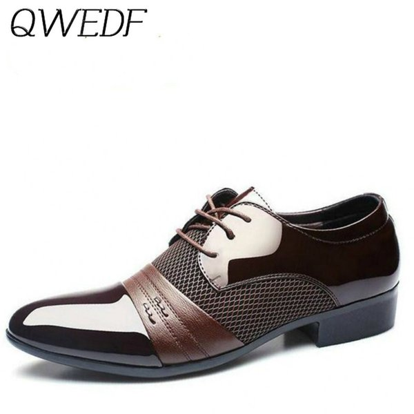 QWEDF 2019 Yeni erkek elbise deri ayakkabı Moda Erkekler Gelinlik Ayakkabı Rahat Nefes erkek ziyafet F1-32