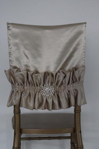 2019 Crystals Taffeta Wedding Chair Sashes Romantic Beautiful Chair Covers Cheap Custom Made Wedding Supplies C04