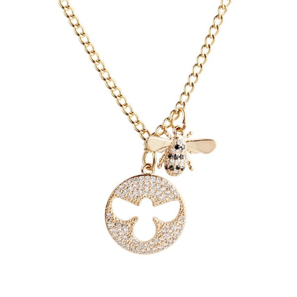 Women Stainless Steel Necklace Bee Pendants Girls Rose Gold Color Chain Crystal Choker Valentines Gift Jewellery long fashion