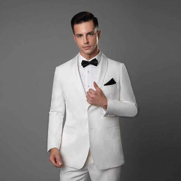 2019 Smoking da sposa su misura per lo sposo Bianco Blu Rosso Groomsmen posteriore Vent Migliore abito da uomo Matrimonio Casual Abiti da uomo Sposo (giacca + pantaloni)