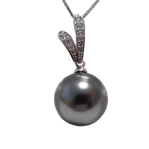 Solid S925 argento con pendente placcato platino 18k, pendente S925 12mm perla di cristallo verde pavone, gioielli di perle, regalo splendido di moda
