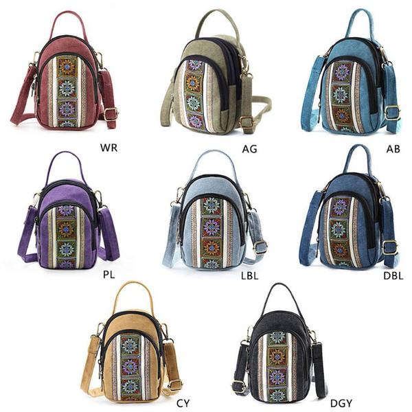 High Quality Canvas Fashion Embroidery Crossbody Mobile Phone Shoulder Bag Pouch Case Belt Handbag Purse Wallet