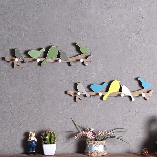 Creative Home Interior Decor Bird Wood Coat Hook Rail Clothes Hanger Children Bedroom Living Room Wall Door Hanging Decorations