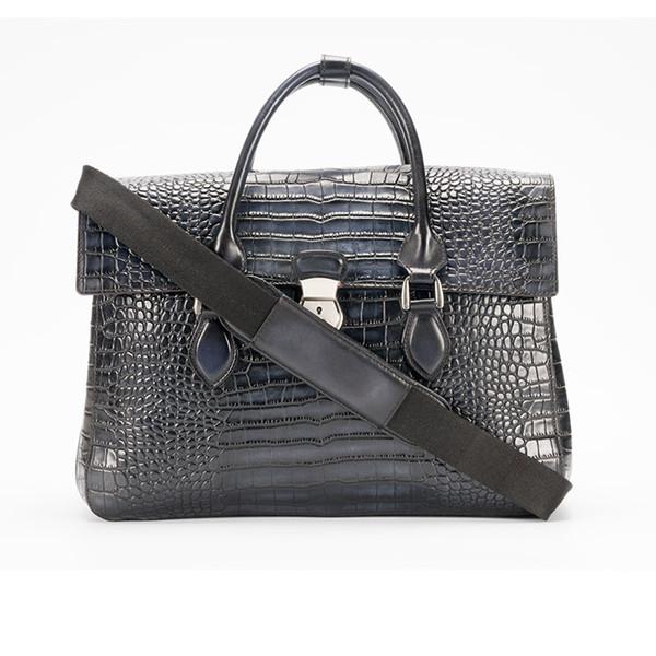 E'Mio Orta İtalyan buzağı Deri Evrak Çantası benzer timsah / Timsah Desen kilit bilgisayar çantası erkek iş evrak çantası