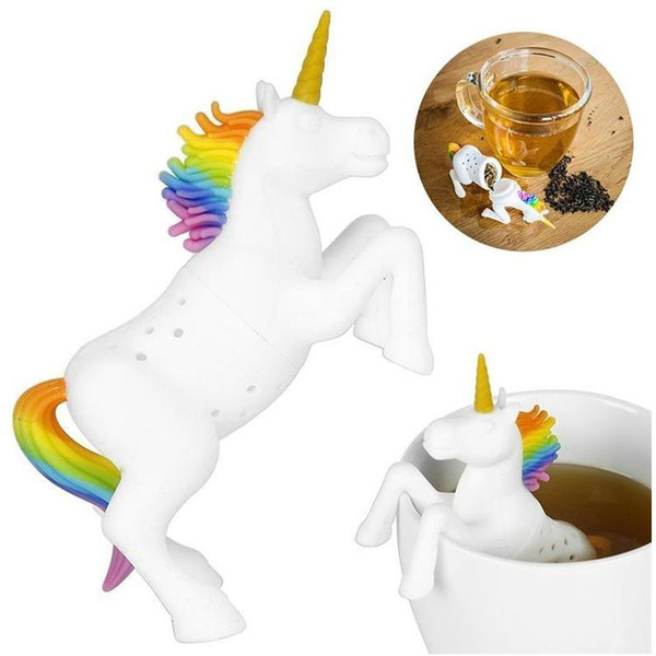 Nuovo teiera per unicorno Gel di silice Perdita di tè all'unicorno Simpatico set di filtri per animali domestici T8I023