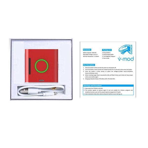 Vmod 510 fil magnétique Connecteur Mod Vaporizer Vape Pen 900mAh Batterie Vaporizer Vapmod Préchauffer Box Ecigarette