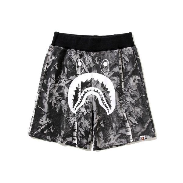 New Summer Teenager Hip Hop Shark Print Splice Short Pants Men's Shark Head Camouflage Splice Loves Trousers Flight Beach Pants Shorts