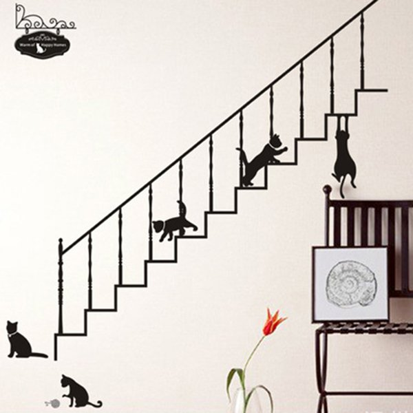 Cartoon Black Cat Climbing The Stairs Wall Stickers Home Decor Living Room Bedroom DIY Art Mural Decals Animals Vinyl Wallpaper