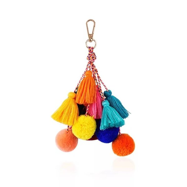 2019 spring new creative models European and American fashion bohemian style color tassel bag pendant handmade key chain accessories