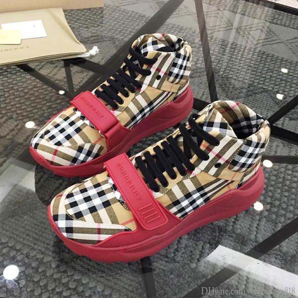 Los nuevos zapatos de moda para los hombres atan para arriba transpirable gamuza y neopreno de alta arriba zapatillas de deporte al aire libre de verano de moda de las zapatillas de deporte plana Londres Zapatos de lujo