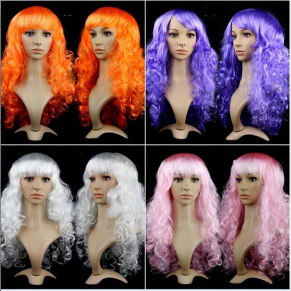Las mujeres más vendidas Anime Cosplay pelucas largas Multicolor peluca de pelo sintético Cosplay disfraz damas vestido Deep Wave pelucas para fiesta club noche
