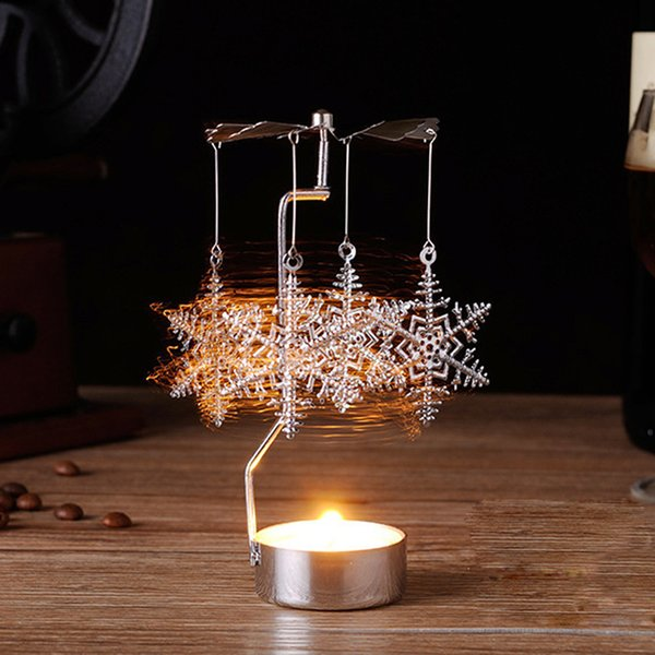 Xmas Gift Christmas Pendant Drop Ornaments Hot Spinning Rotary Metal Carousel Candle Holder Stand with Led Night Light