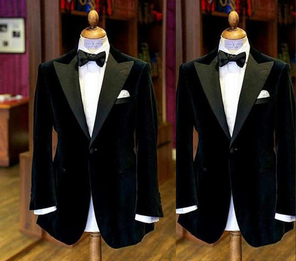 Abiti da uomo nero 2019 Smoking dello sposo di moda Abiti da sposa per uomo Slim Fit Prom Smoking per il miglior uomo (Jacket + Bow)
