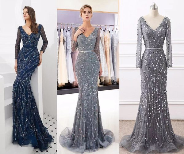 9fe9afa7a2146 Dubai Robe De Soiree Luxury Long Sleeve Evening Dresses 2019 Real ...