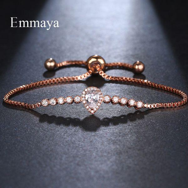 EMMAYA moda de luxo cristal pavimentado cristal pulseira de ouro Cor Prata Ajustável Tennis Braclet For Women presente de casamento