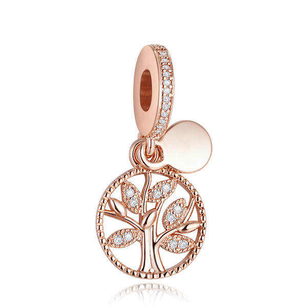 Family Heritage Rose Golden Charms for Women DIY Beaded Bracelets Floating Family Tree Pendants Fashion Silver 925 Jewelry DIY