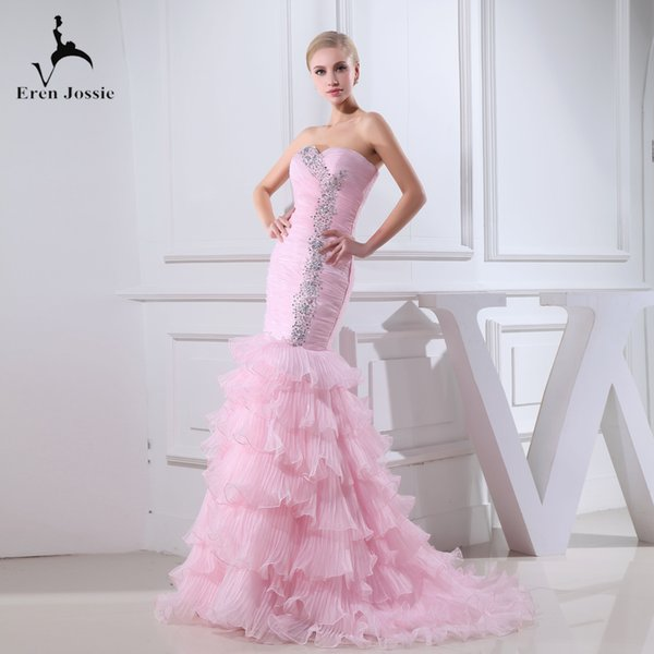 Eren Jossie 2019 Off the Shoulder Ruffled Organza Luxury Design Abito da sposa rosa con strass Abito da sposa attraente