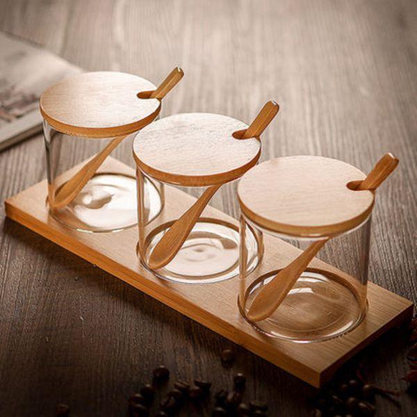 top popular 3pcs set Creative Transparent Glass Kitchen Spice Jar Three-piece Seasoning Storage Tank Seasoning Bottles Dispensing Bottle Box Salt 2021