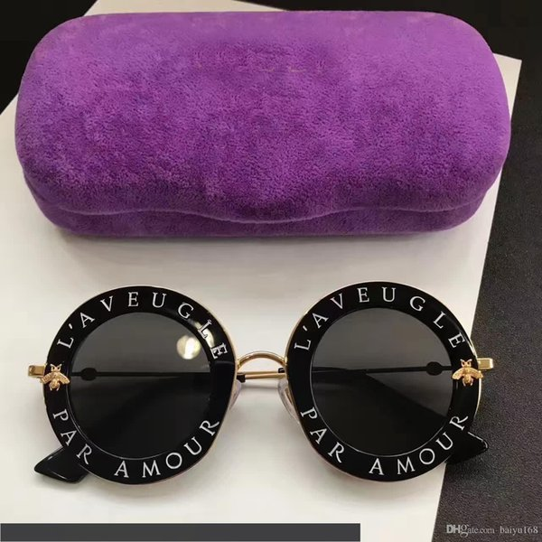 inspired 0113s black gold metal round sunglasses 0113 s 44mm fashion brand sunglass with hard box