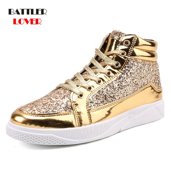 Hombres zapatillas de deporte de baile hip hop zapatos planos para hombre primavera oro plata bling rhinestone lace up hombre hombre botines casuales 2019