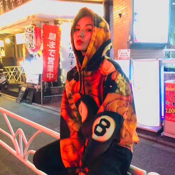 Mens cuadro sudaderas de diseño logotipo de hombres y mujeres de la calle de hip hop suelta, además de terciopelo chaqueta marea 19FW impresa suéter con capucha par de deportes