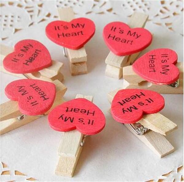 Love Shape Photo Clip Decorazioni di nozze rustiche in legno colore rosso cartella Mssage decorazione del partito vendita calda 0 12dfE1