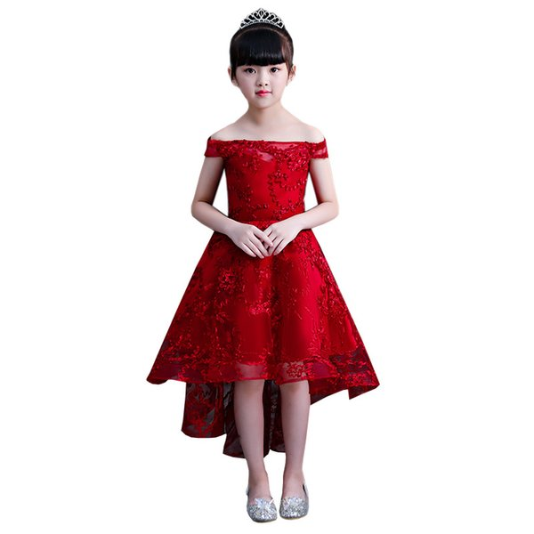 High Low Red Girls Pageant Dresses With Pears Tulle Flower Girl Dresses Kids First Communion Dresses Evening Party Gowns