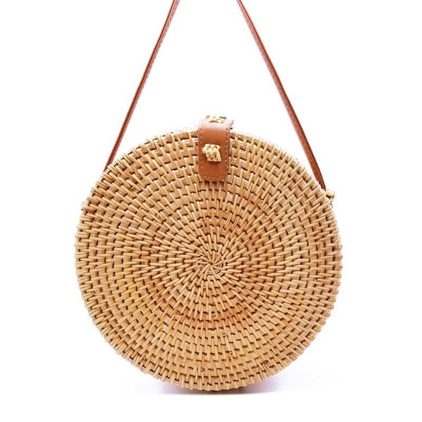 Straw Round Circle Shoulder Beach Bag 2019 Summer New Rattan Bag Pure Handmade Qiuteng Basket Exotic Scenery Basket Bag Kl449 J190702