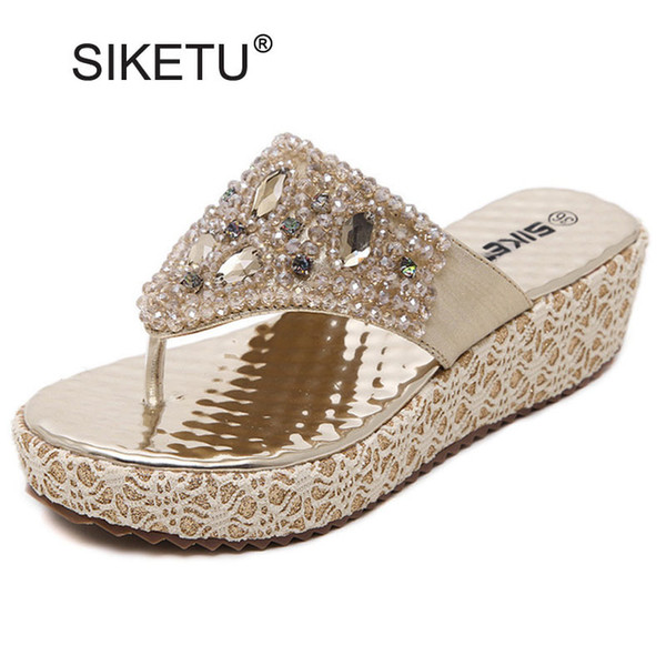 Luxurious Crystal Flip Flops For Women Fashion Platform High Heels Women Wedge Slippers Lady Elegant String Beaded Beach Slides