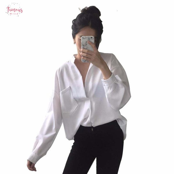 Sleeve Woman Blouse Blouse White Shirt Ladies Pocket Shirt Women Casual Tops Plus Size Elegant Female White