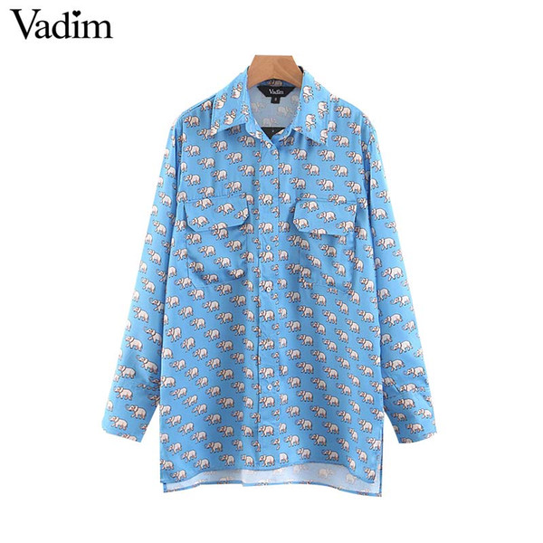 d5beac02aaf Vadim mujer animal print blusa azul bolsillos vintage manga larga elegante  mujer camisas casuales estilo de