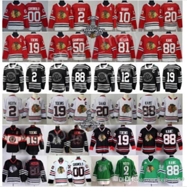 2019 winter cla ic chicago blackhawk jer ey hockey duncan keith jonathan toew 88 patrick kane corey crawford alex debrincat aad gri wold, Black;red